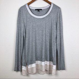White House Black Market gray long sleeve blouse